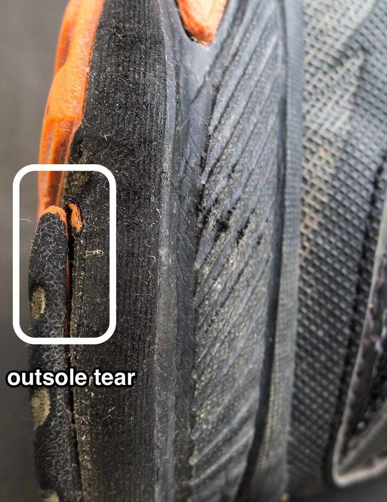 Outsole tear
